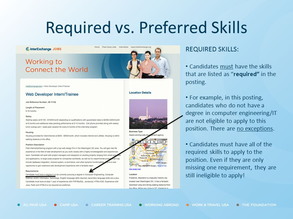 """Required vs. Preferred Skills REQUIRED SKILLS: Candidates must have the skills that are listed as """"required"""" in the posting. For example, in this post"""