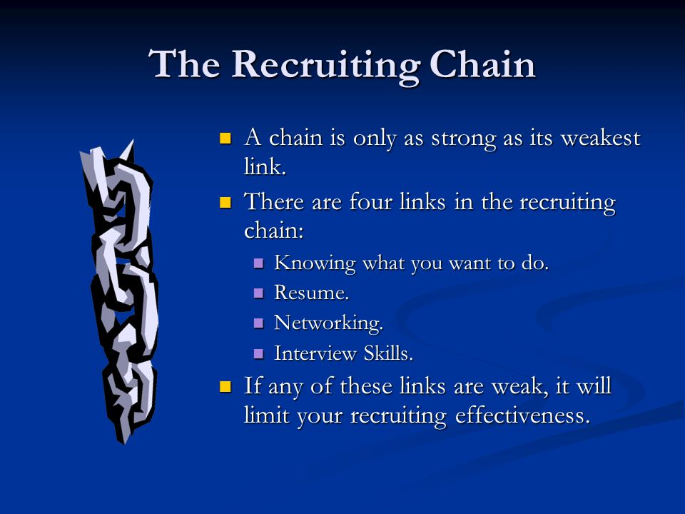 The Recruiting Chain A chain is only as strong as its weakest link.