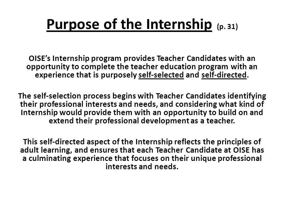 Purpose of the Internship (p.