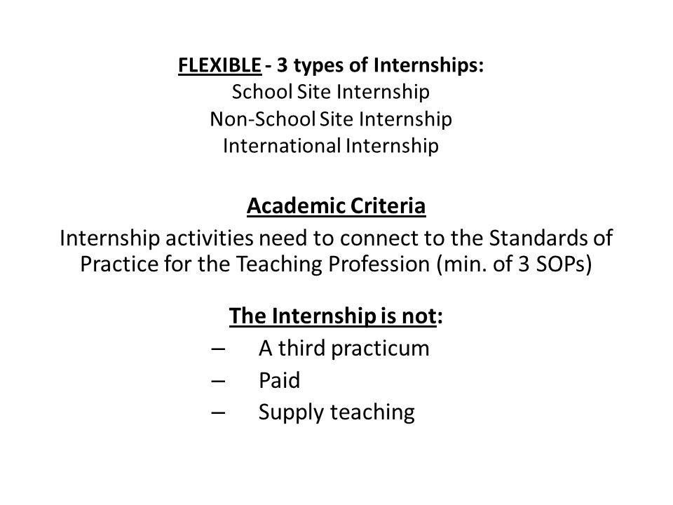 Academic Criteria Internship activities need to connect to the Standards of Practice for the Teaching Profession (min.