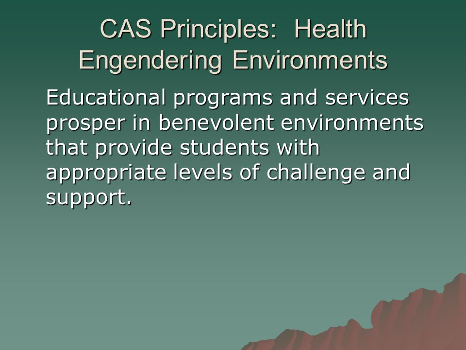 CAS Principles: Health Engendering Environments Educational programs and services prosper in benevolent environments that provide students with appropriate levels of challenge and support.