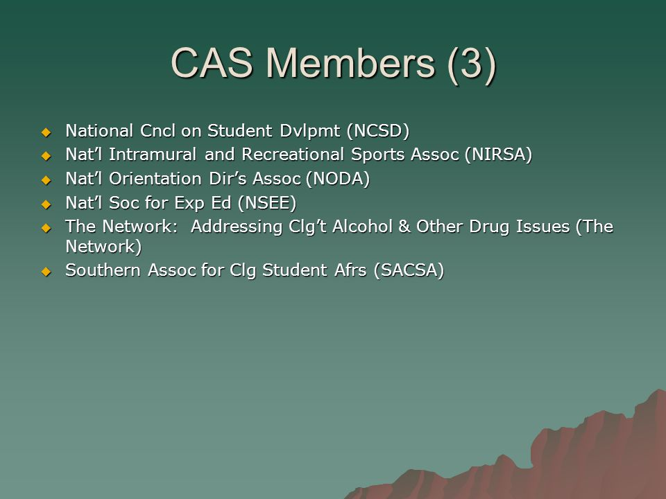 CAS Members (3)  National Cncl on Student Dvlpmt (NCSD)  Nat'l Intramural and Recreational Sports Assoc (NIRSA)  Nat'l Orientation Dir's Assoc (NODA)  Nat'l Soc for Exp Ed (NSEE)  The Network: Addressing Clg't Alcohol & Other Drug Issues (The Network)  Southern Assoc for Clg Student Afrs (SACSA)