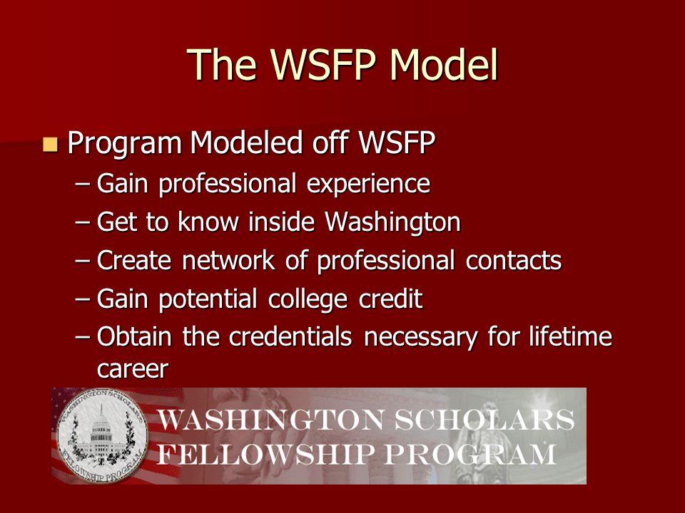 The WSFP Model Program Modeled off WSFP Program Modeled off WSFP –Gain professional experience –Get to know inside Washington –Create network of profe