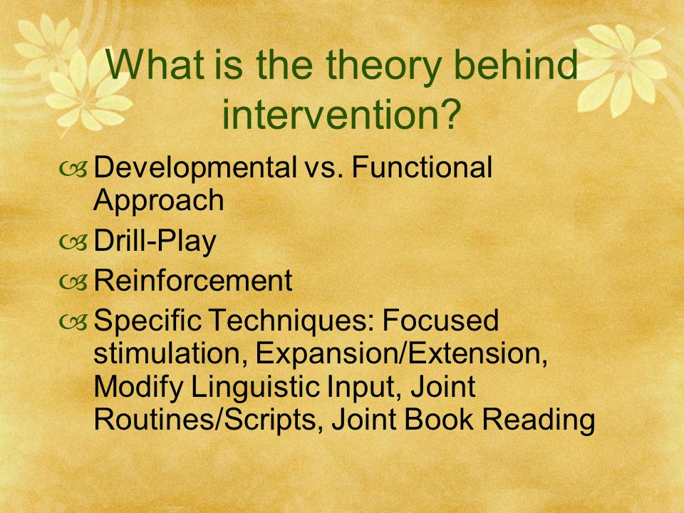 What is the theory behind intervention.  Developmental vs.