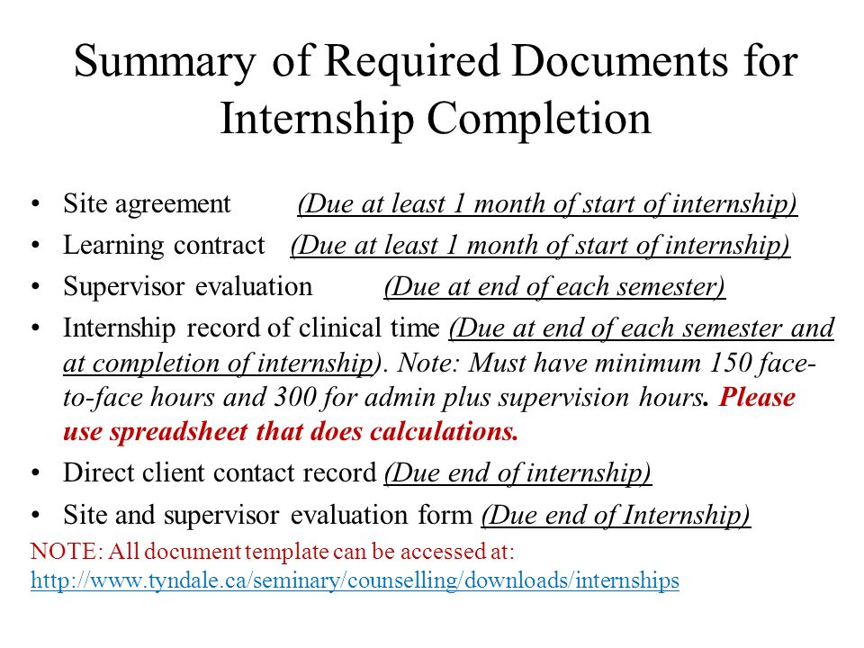 Summary of Required Documents for Internship Completion Site agreement (Due at least 1 month of start of internship) Learning contract (Due at least 1 month of start of internship) Supervisor evaluation (Due at end of each semester) Internship record of clinical time (Due at end of each semester and at completion of internship).