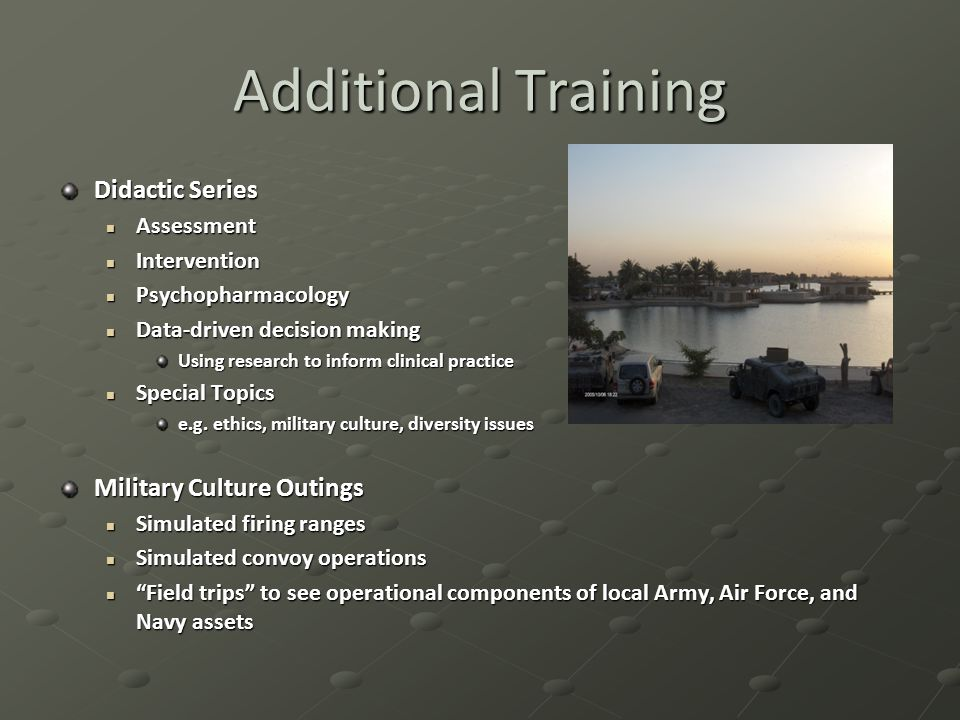 Additional Training Didactic Series Assessment Assessment Intervention Intervention Psychopharmacology Psychopharmacology Data-driven decision making Data-driven decision making Using research to inform clinical practice Special Topics Special Topics e.g.