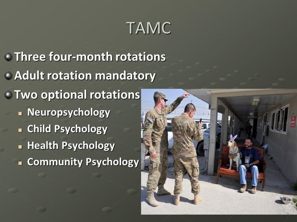 TAMC Three four-month rotations Adult rotation mandatory Two optional rotations Neuropsychology Neuropsychology Child Psychology Child Psychology Health Psychology Health Psychology Community Psychology Community Psychology