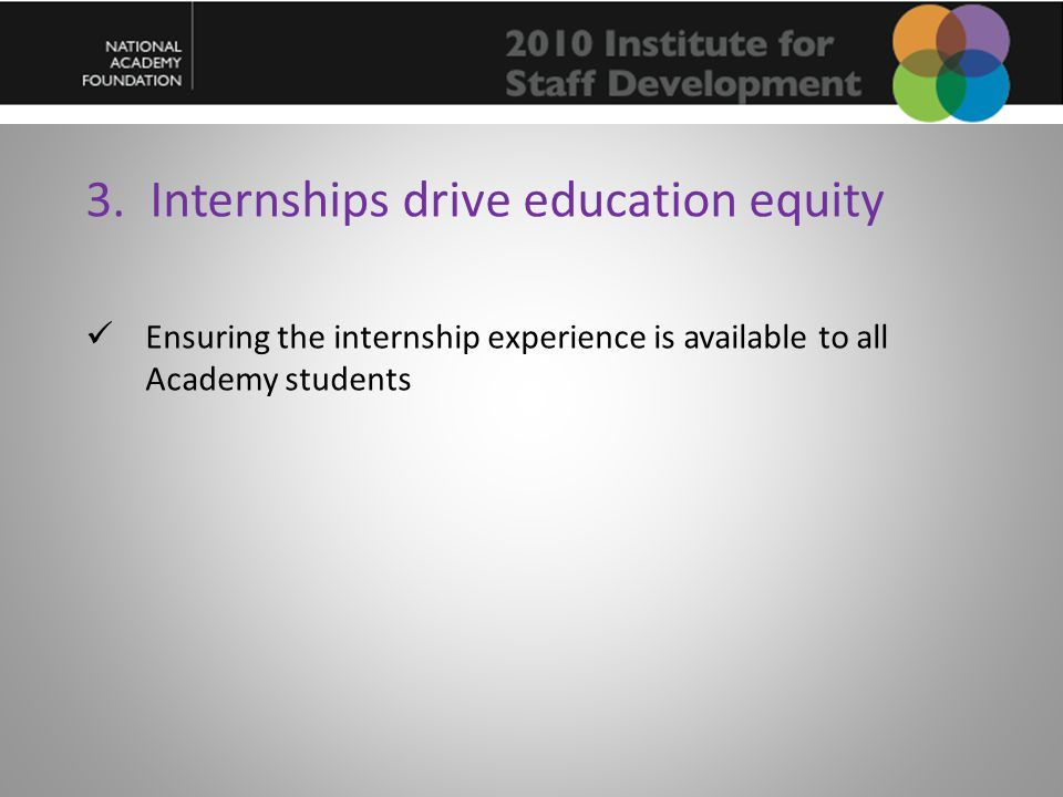 3. Internships drive education equity Ensuring the internship experience is available to all Academy students