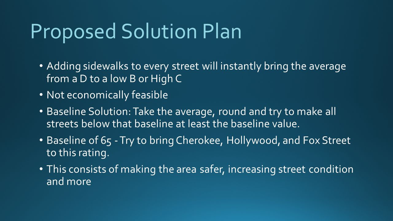 Proposed Solution Plan Adding sidewalks to every street will instantly bring the average from a D to a low B or High C Not economically feasible Baseline Solution: Take the average, round and try to make all streets below that baseline at least the baseline value.