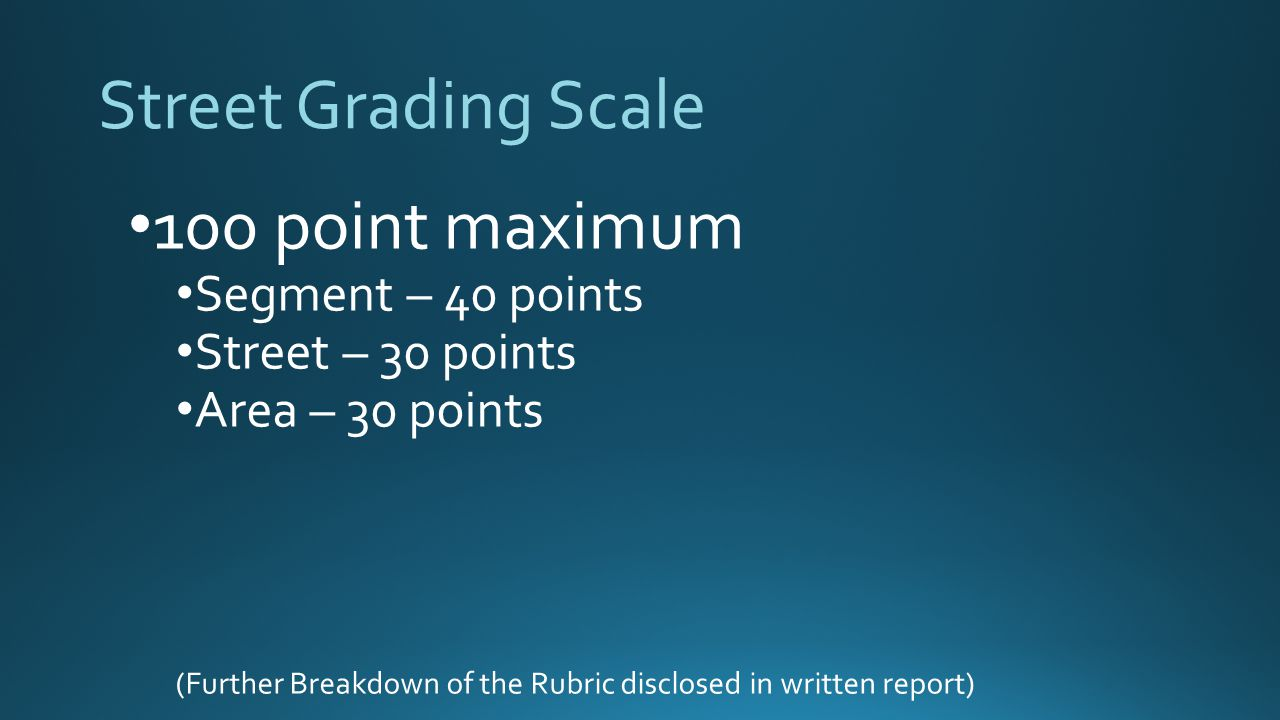 Street Grading Scale 100 point maximum Segment – 40 points Street – 30 points Area – 30 points (Further Breakdown of the Rubric disclosed in written report)