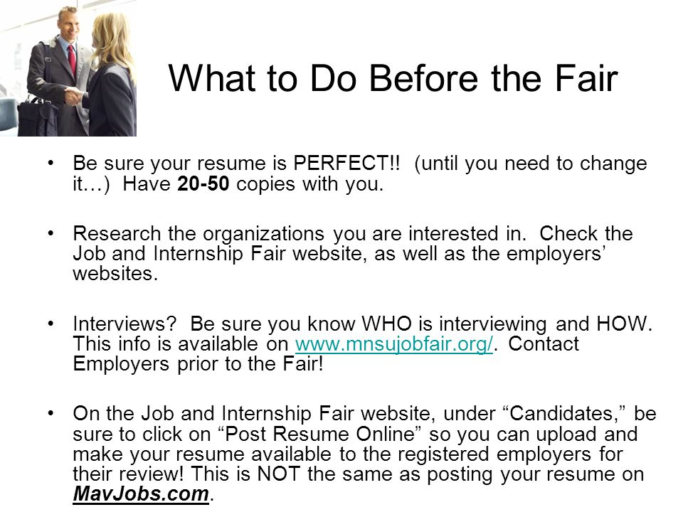 Researching Registered Employers The following slides are snapshots of important pages on the Job and Internship Fair website www.mnsujobfair.org and how to use these pages to prepare for the Fair.