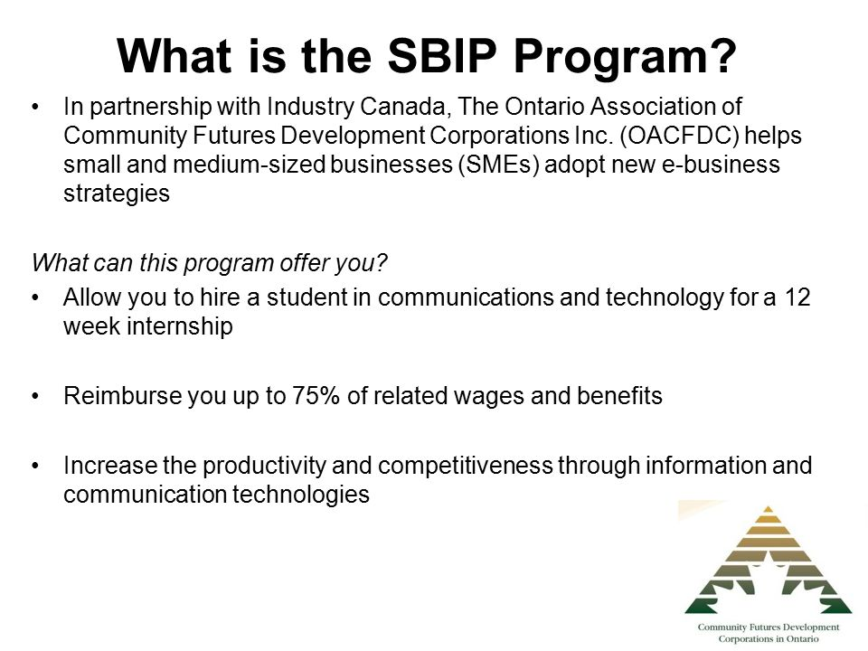 What is the SBIP Program? In partnership with Industry Canada, The Ontario Association of Community Futures Development Corporations Inc. (OACFDC) hel