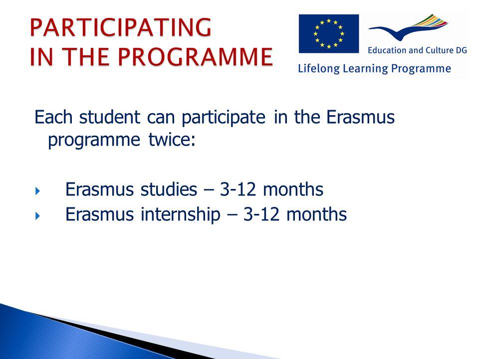 Each student can participate in the Erasmus programme twice:  Erasmus studies – 3-12 months  Erasmus internship – 3-12 months
