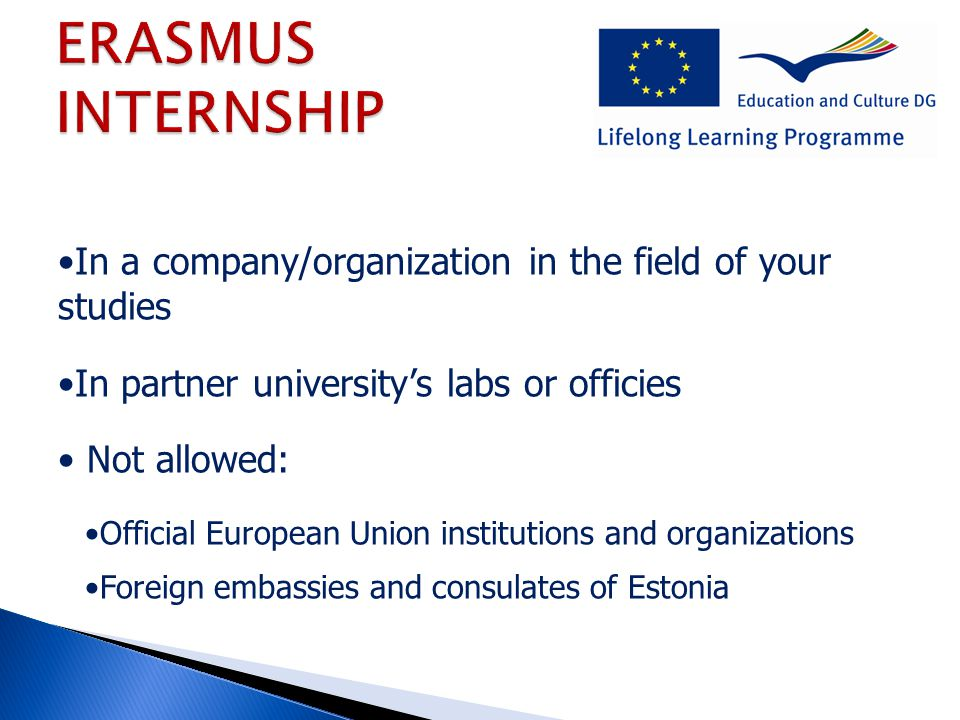 In a company/organization in the field of your studies In partner university's labs or officies Not allowed: Official European Union institutions and organizations Foreign embassies and consulates of Estonia