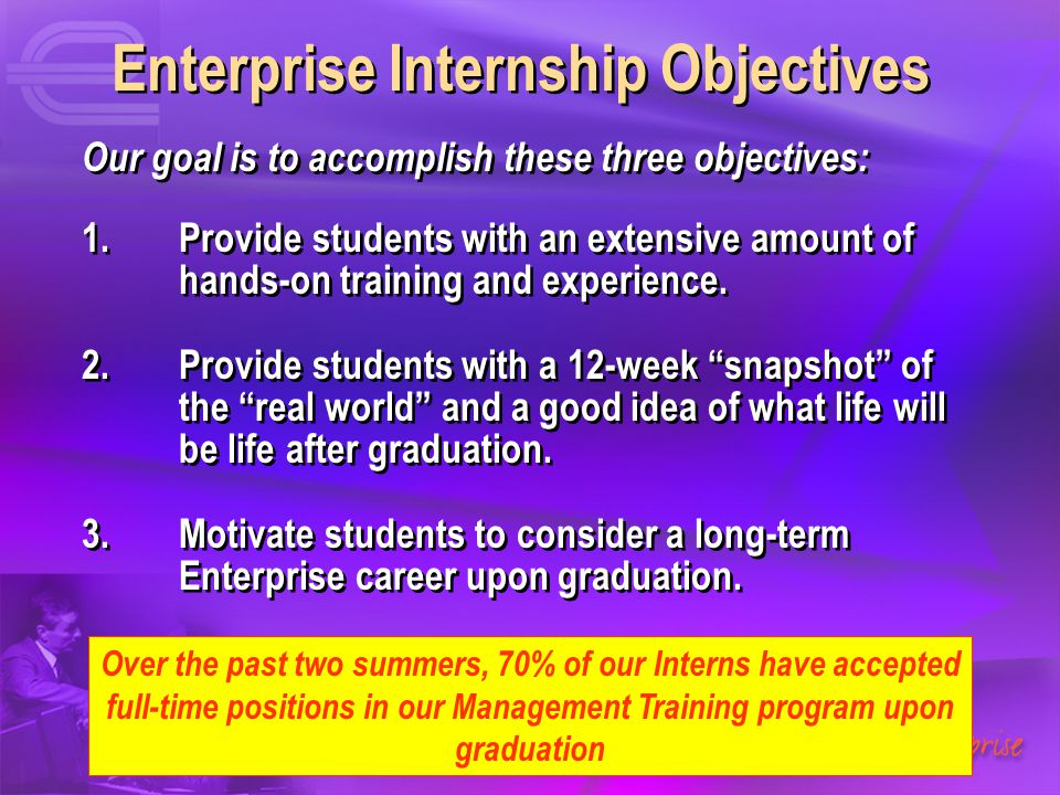 Enterprise Internship Objectives Our goal is to accomplish these three objectives: 1.Provide students with an extensive amount of hands-on training an