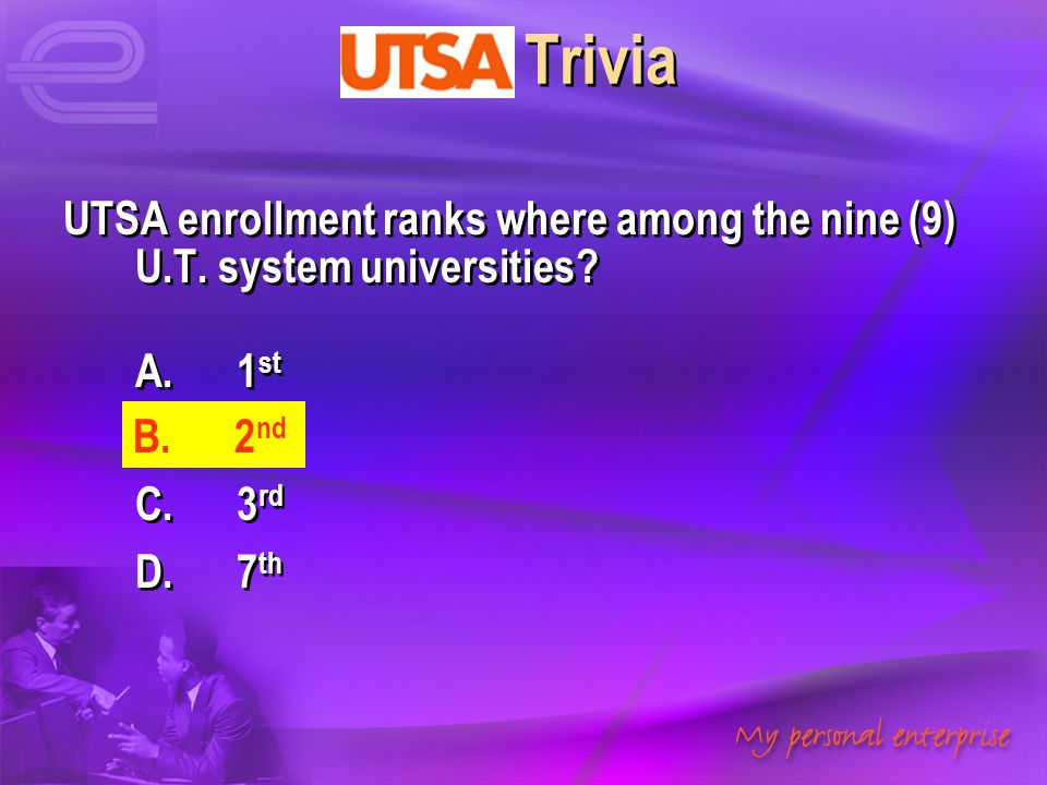 UTSA Trivia UTSA enrollment ranks where among the nine (9) U.T. system universities? A. 1 st B. 2 nd C. 3 rd D. 7 th UTSA enrollment ranks where among