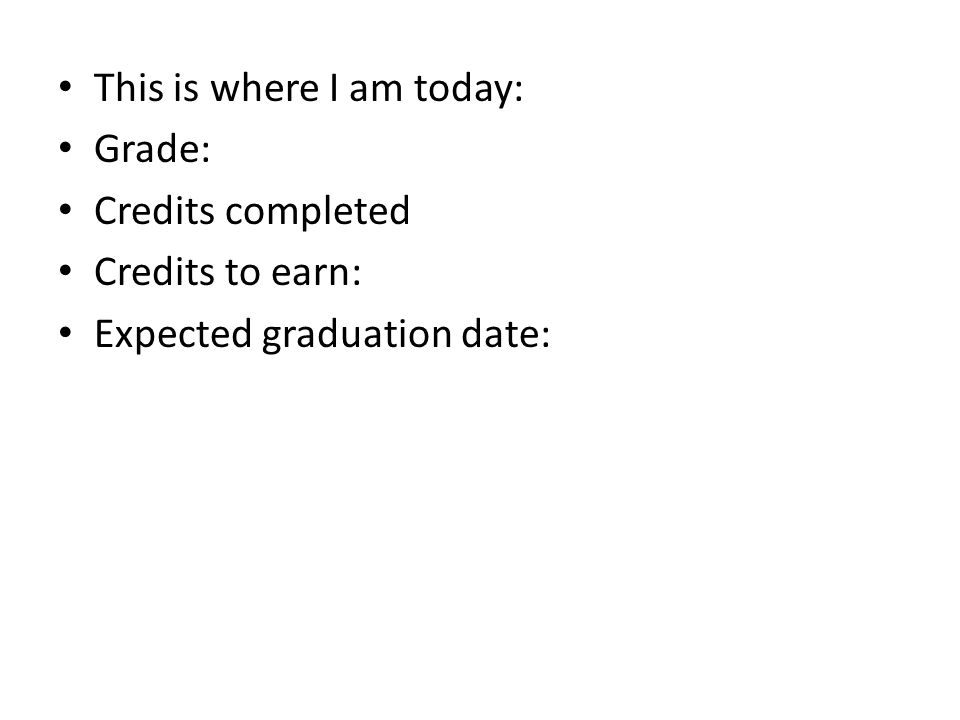 This is where I am today: Grade: Credits completed Credits to earn: Expected graduation date:
