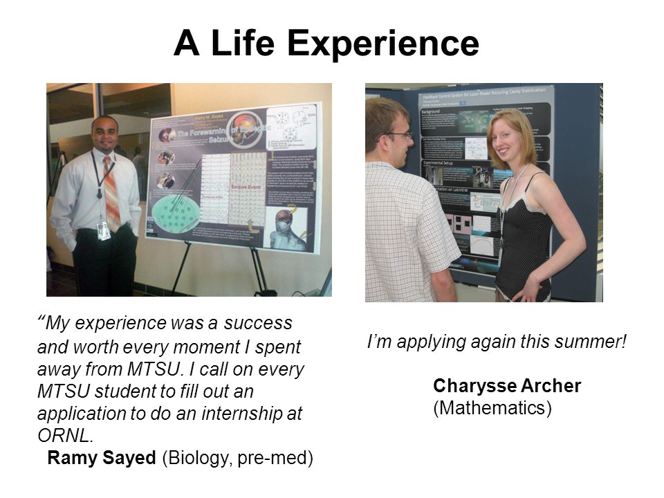 Attend seminars and workshops Write a scientific abstract - publish in a journal Present at a poster session Learn about careers Attend a graduate school fair An Opportunity to Learn Robert Ehemann (Physics) Jeremy Tiegs (Geosciences)