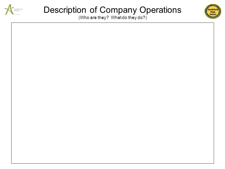 Description of Company Operations (Who are they What do they do )
