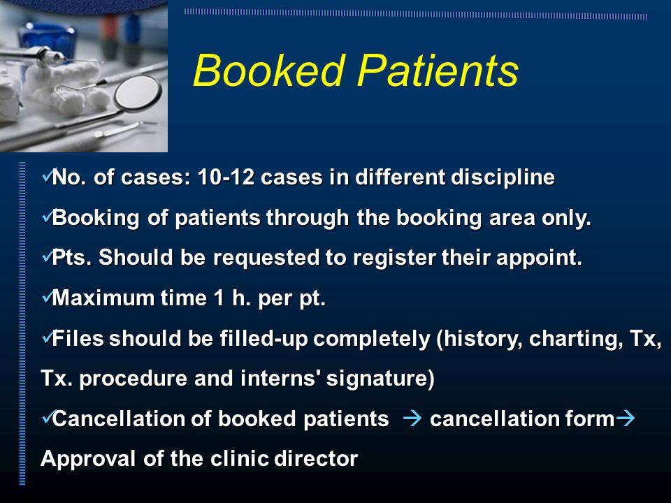 No. of cases: 10-12 cases in different discipline No. of cases: 10-12 cases in different discipline Booking of patients through the booking area only.