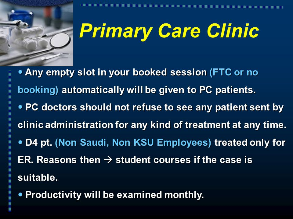 Any empty slot in your booked session (FTC or no booking) automatically will be given to PC patients. Any empty slot in your booked session (FTC or no
