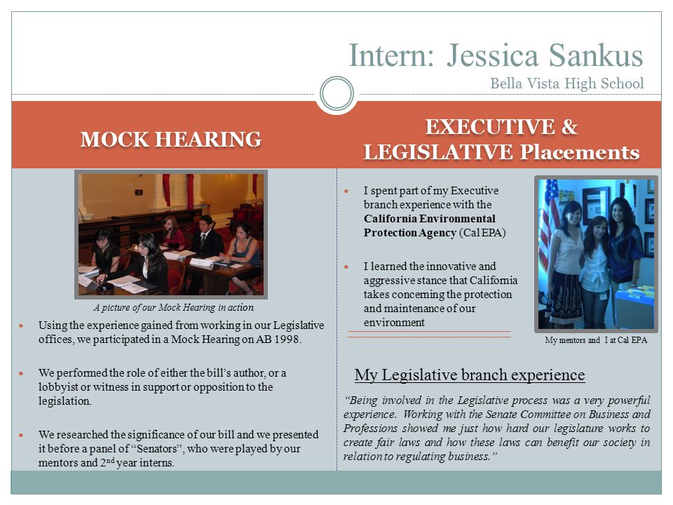MOCK HEARING EXECUTIVE & LEGISLATIVE Placements Using the experience gained from working in our Legislative offices, we participated in a Mock Hearing on AB 1998.