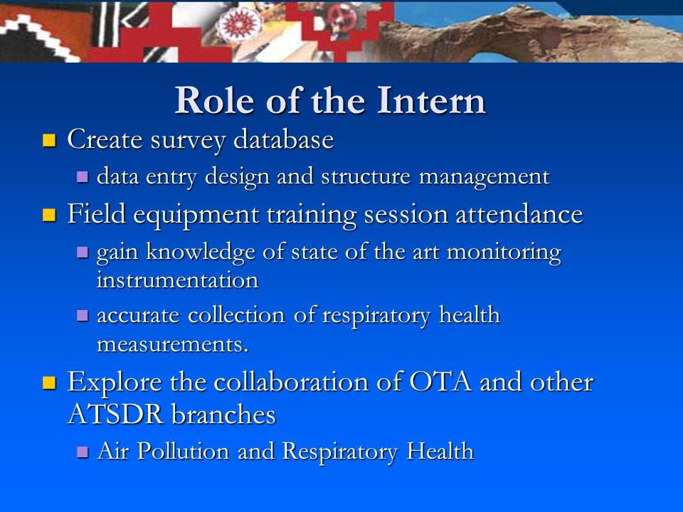 Role of the Intern Create survey database Create survey database data entry design and structure management data entry design and structure management Field equipment training session attendance Field equipment training session attendance gain knowledge of state of the art monitoring instrumentation gain knowledge of state of the art monitoring instrumentation accurate collection of respiratory health measurements.