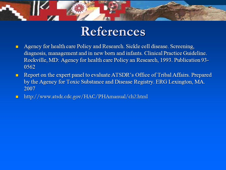 References Agency for health care Policy and Research.
