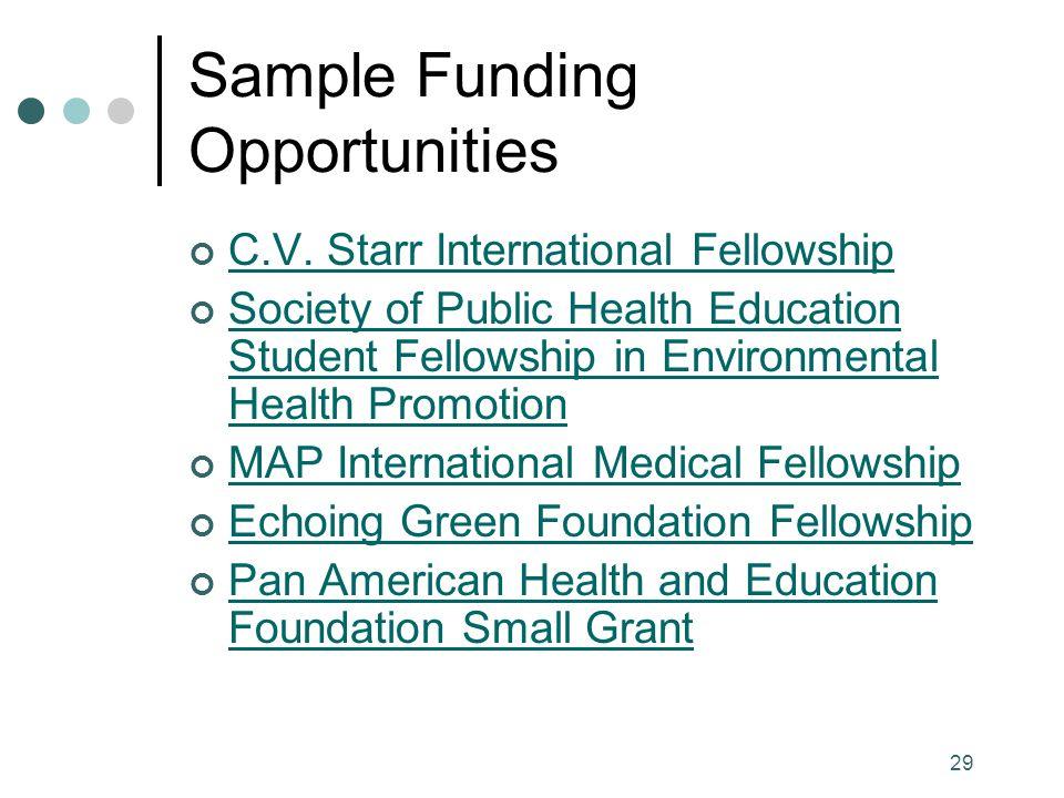 29 Sample Funding Opportunities C.V.
