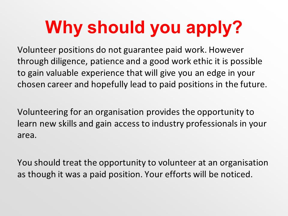 Why should you apply. Volunteer positions do not guarantee paid work.
