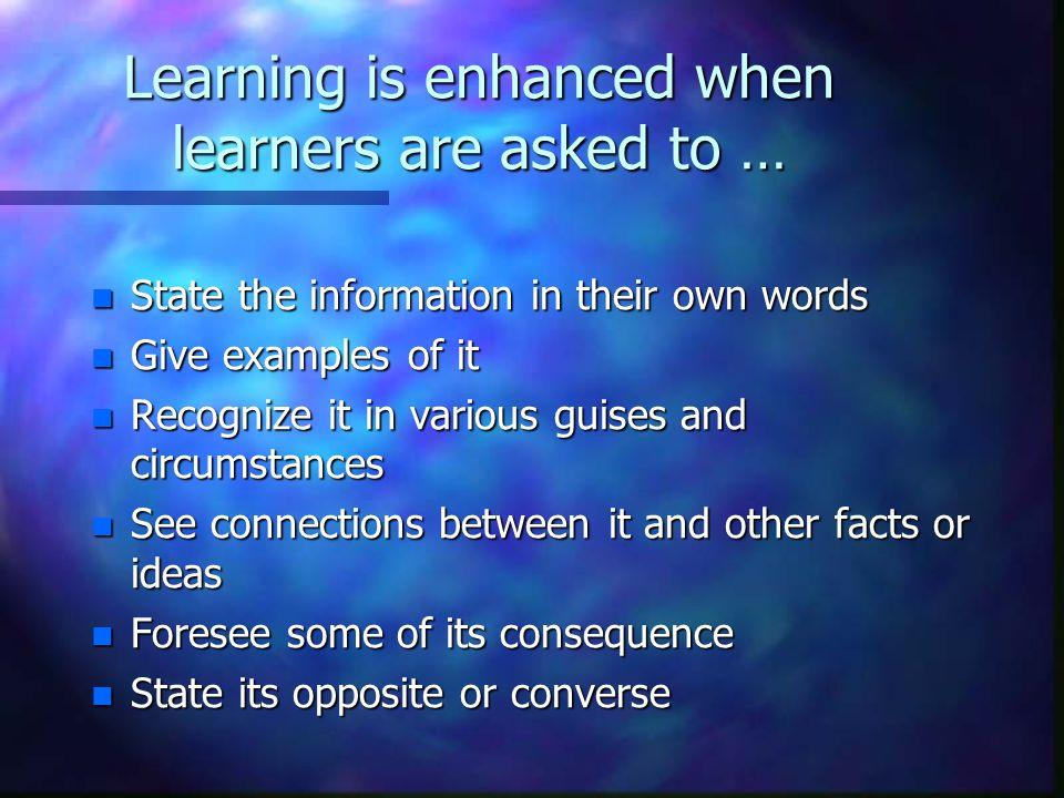 Learning is not a spectator sport.