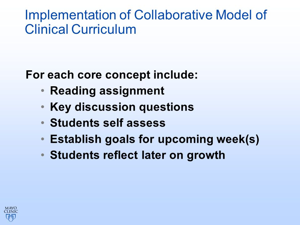 Implementation of Collaborative Model of Clinical Curriculum For each core concept include: Reading assignment Key discussion questions Students self assess Establish goals for upcoming week(s) Students reflect later on growth