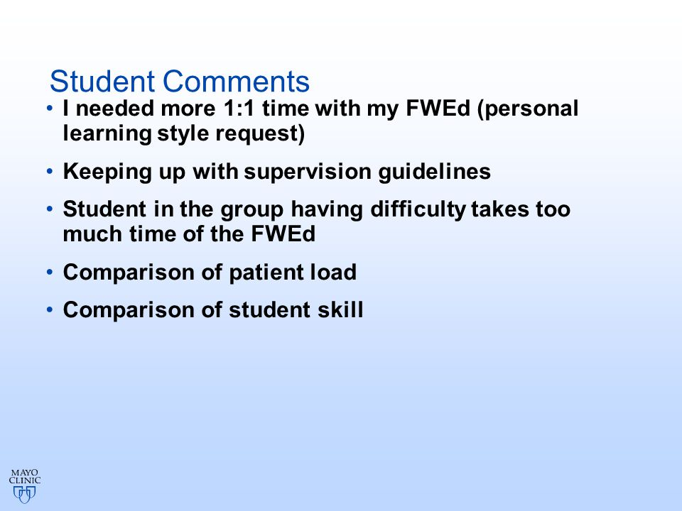 Student Comments I needed more 1:1 time with my FWEd (personal learning style request) Keeping up with supervision guidelines Student in the group having difficulty takes too much time of the FWEd Comparison of patient load Comparison of student skill