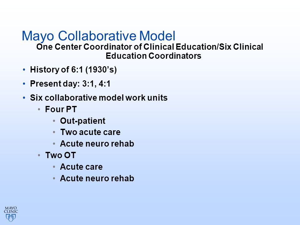 Implementation of Collaborative Model of Clinical Curriculum AOTA Fieldwork Education Form Weekly feedback meetings Midterm and final student evaluations Patient and staff feedback AFWC feedback