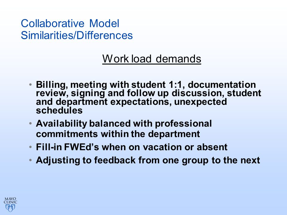 Implementation of Collaborative Model of Clinical Curriculum Identify core concepts to be incorporated with every student: Learning style Adult learning and expectations Giving and receiving feedback Reflection Professionalism Service learning Cultural competency
