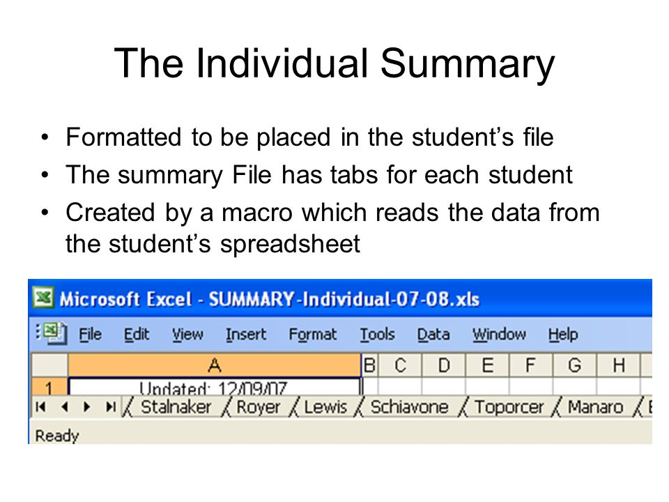 The Individual Summary Formatted to be placed in the student's file The summary File has tabs for each student Created by a macro which reads the data from the student's spreadsheet