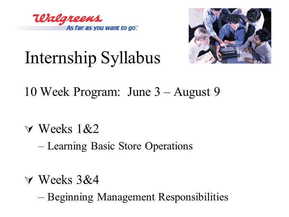 Internship Syllabus 10 Week Program: June 3 – August 9  Weeks 1&2 –Learning Basic Store Operations  Weeks 3&4 –Beginning Management Responsibilities