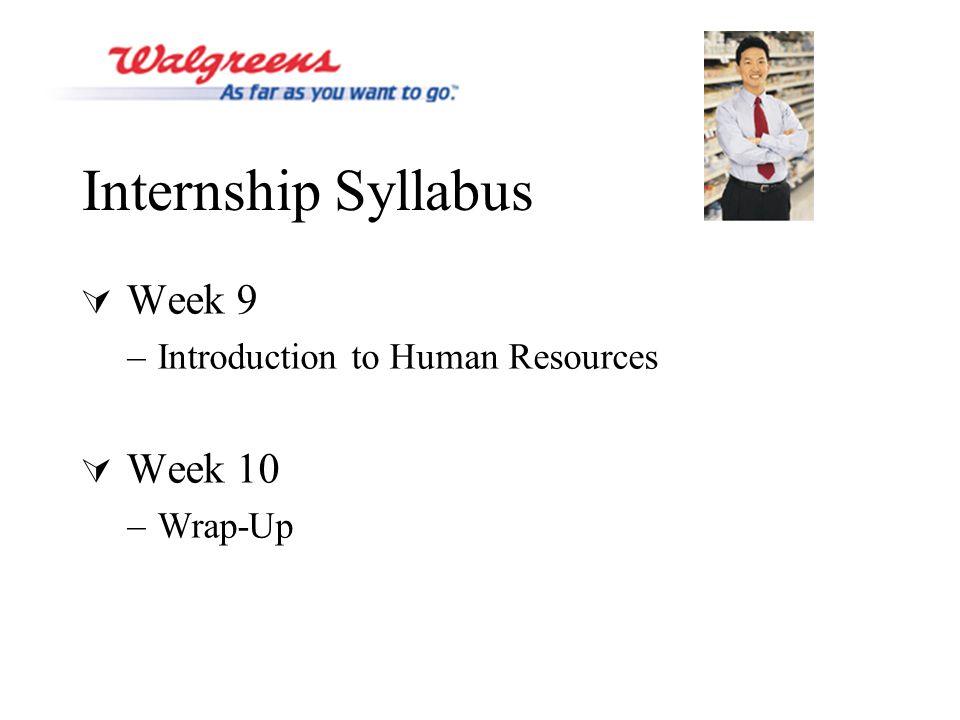 Internship Syllabus  Week 9 –Introduction to Human Resources  Week 10 –Wrap-Up