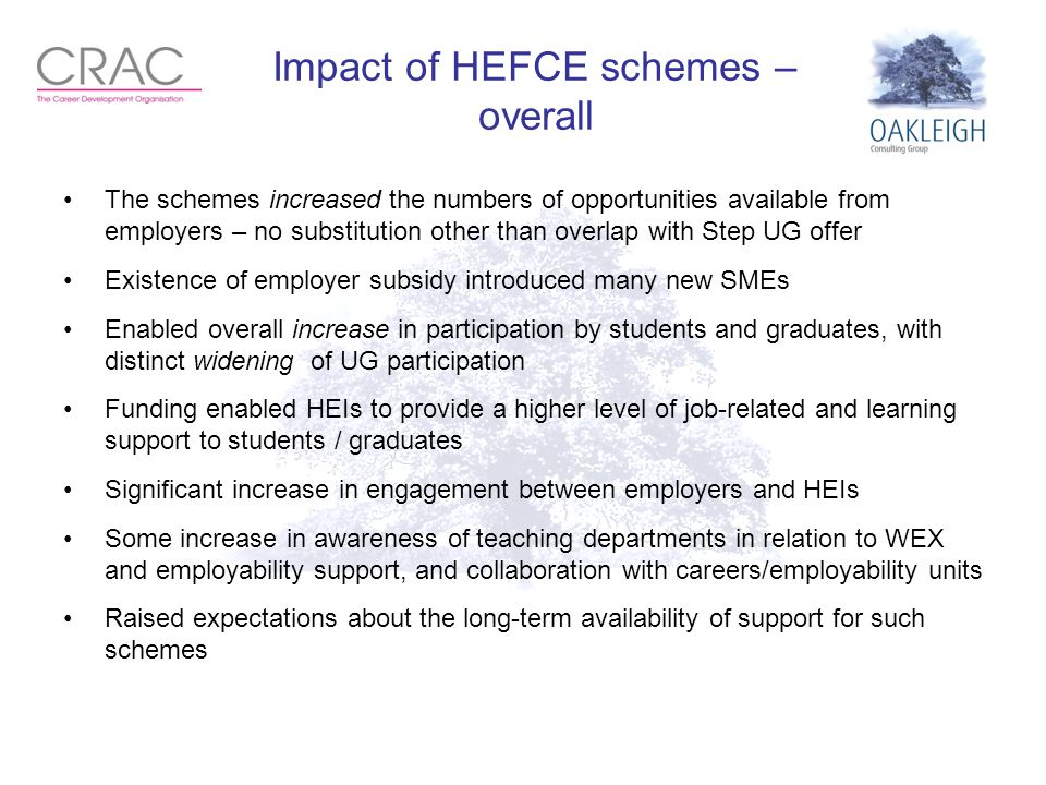 Impact of HEFCE schemes – overall The schemes increased the numbers of opportunities available from employers – no substitution other than overlap with Step UG offer Existence of employer subsidy introduced many new SMEs Enabled overall increase in participation by students and graduates, with distinct widening of UG participation Funding enabled HEIs to provide a higher level of job-related and learning support to students / graduates Significant increase in engagement between employers and HEIs Some increase in awareness of teaching departments in relation to WEX and employability support, and collaboration with careers/employability units Raised expectations about the long-term availability of support for such schemes