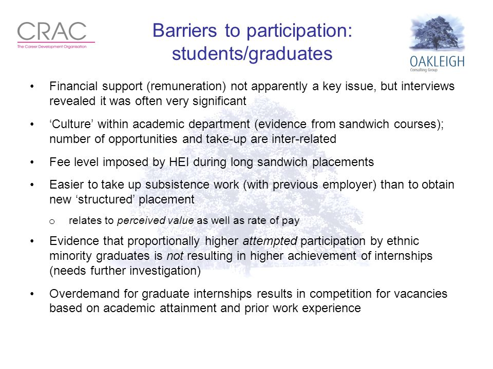 Barriers to participation: students/graduates Financial support (remuneration) not apparently a key issue, but interviews revealed it was often very significant 'Culture' within academic department (evidence from sandwich courses); number of opportunities and take-up are inter-related Fee level imposed by HEI during long sandwich placements Easier to take up subsistence work (with previous employer) than to obtain new 'structured' placement o relates to perceived value as well as rate of pay Evidence that proportionally higher attempted participation by ethnic minority graduates is not resulting in higher achievement of internships (needs further investigation) Overdemand for graduate internships results in competition for vacancies based on academic attainment and prior work experience