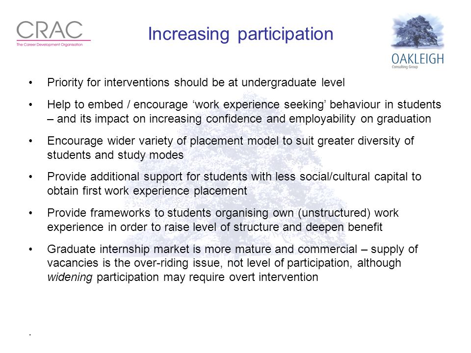 Increasing participation Priority for interventions should be at undergraduate level Help to embed / encourage 'work experience seeking' behaviour in students – and its impact on increasing confidence and employability on graduation Encourage wider variety of placement model to suit greater diversity of students and study modes Provide additional support for students with less social/cultural capital to obtain first work experience placement Provide frameworks to students organising own (unstructured) work experience in order to raise level of structure and deepen benefit Graduate internship market is more mature and commercial – supply of vacancies is the over-riding issue, not level of participation, although widening participation may require overt intervention.