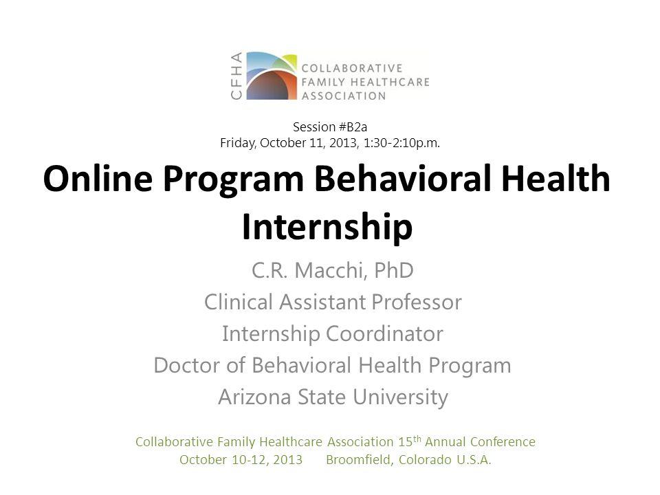 Online Program Behavioral Health Internship C.R.