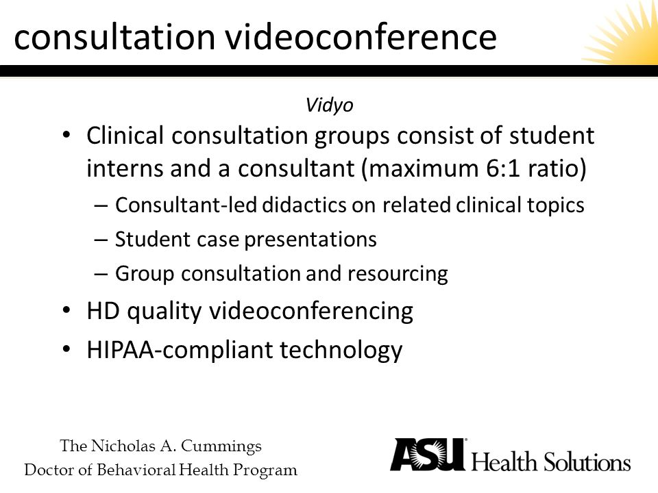 The Nicholas A. Cummings Doctor of Behavioral Health Program consultation videoconference Clinical consultation groups consist of student interns and