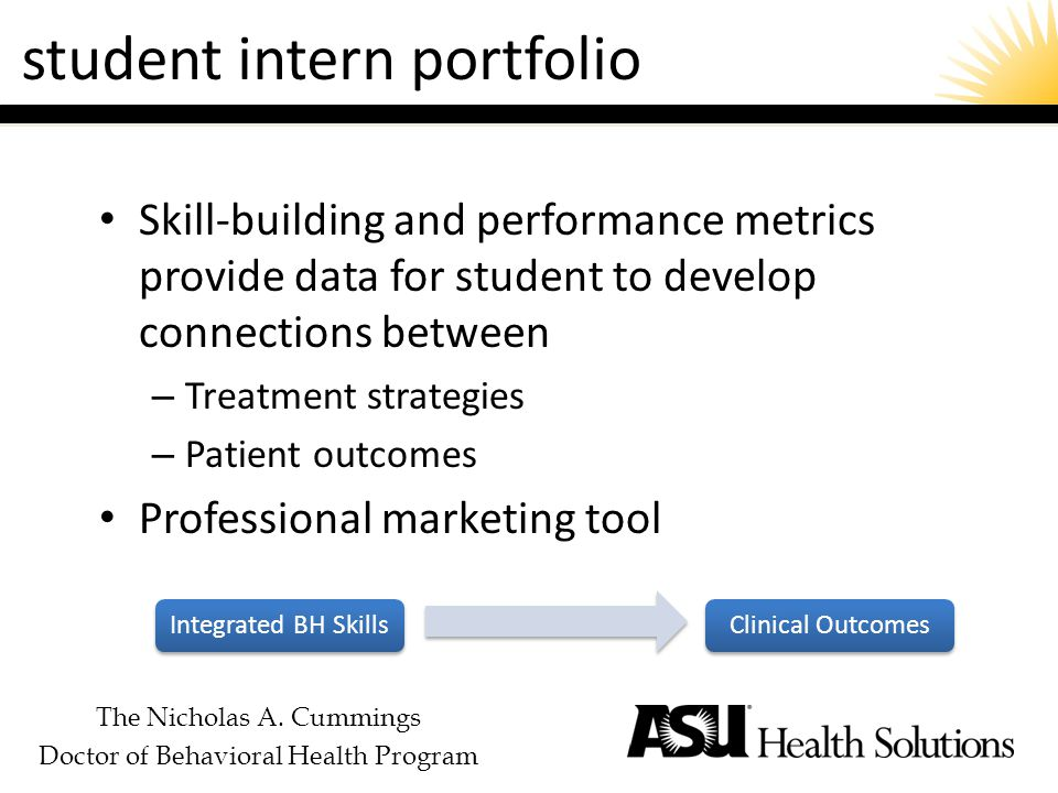 The Nicholas A. Cummings Doctor of Behavioral Health Program student intern portfolio Skill-building and performance metrics provide data for student