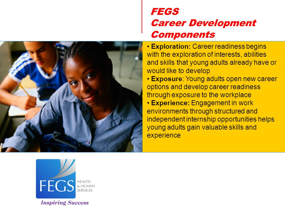 FEGS Career Development Components Exploration: Career readiness begins with the exploration of interests, abilities and skills that young adults already have or would like to develop Exposure: Young adults open new career options and develop career readiness through exposure to the workplace Experience: Engagement in work environments through structured and independent internship opportunities helps young adults gain valuable skills and experience