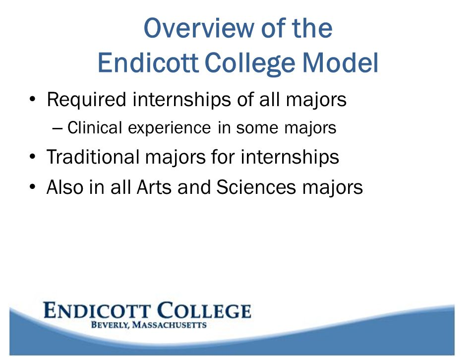 Endicott's model for Applied Learning Comprehensive academic internship program Promotes professional development Enhances and deepens learning within the discipline Fully integrated into Endicott's identity Tied to the mission Multiple experiential learning requirements Everybody is connected to Internship.