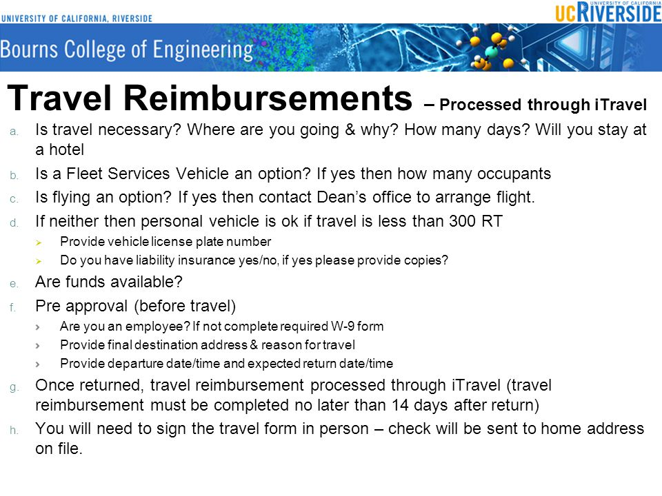 Travel Reimbursements – Processed through iTravel a.