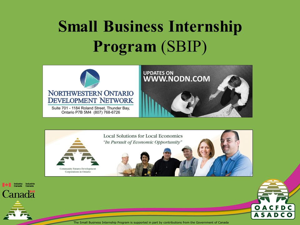 The Bottom Line SMALL BUSINESS INTERNSHIP PROGRAM (SBIP) 75% of student intern wages paid by Government of Canada to small businesses for E-commerce projects All Projects must be completed between April 1 st, 2010 and March 31 st, 2011 Any questions or concerns regarding the application process for the Small Business Internship Program may be directed to: Toll free 1-888-633-2326 ext.