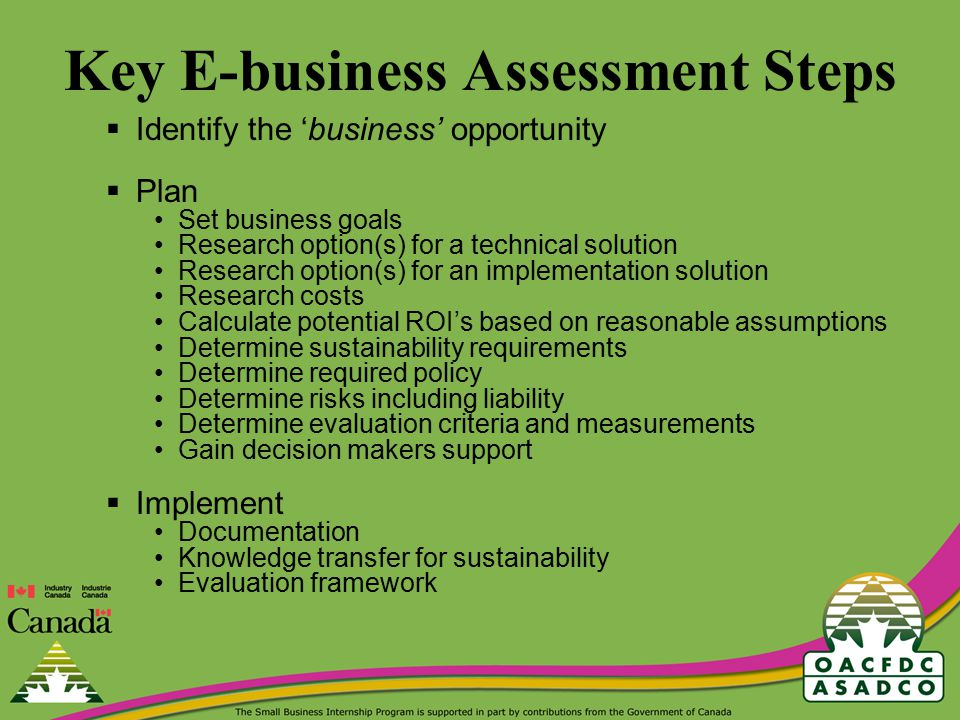 Key E-business Assessment Steps  Identify the 'business' opportunity  Plan Set business goals Research option(s) for a technical solution Research option(s) for an implementation solution Research costs Calculate potential ROI's based on reasonable assumptions Determine sustainability requirements Determine required policy Determine risks including liability Determine evaluation criteria and measurements Gain decision makers support  Implement Documentation Knowledge transfer for sustainability Evaluation framework
