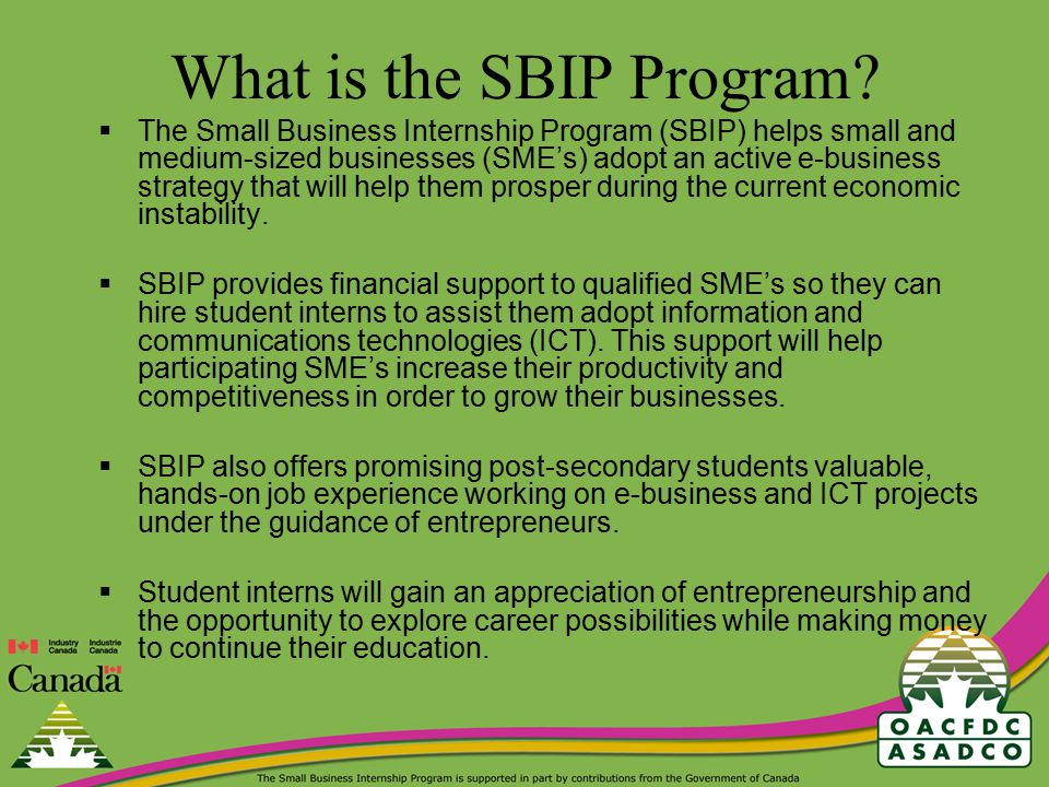 How does the SBIP Program work.